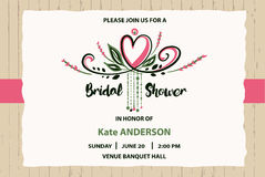 Bridal shower  template. Invitation with text please join. Us and heart on grunge wood background Stock Photography