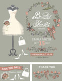 Bridal shower template set .Bridal dress,floral Stock Photography