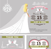 Bridal shower template set.Bride,dress,veil Stock Image