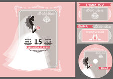 Bridal shower template set.Bride silhouette,frame. Wedding Bridal shower invitation template set.Flat bride silhouette in white dress,veil,.Bouquet, hand writing Royalty Free Stock Image