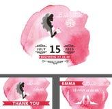 Bridal shower template set.Bride,watercolor pink Stock Image