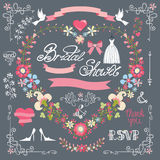 Bridal shower template set.Decor element,floral Stock Image