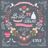 Bridal shower template set.Decor element,floral Stock Image