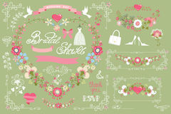 Bridal shower template set.Decor element,floral. Retro bridal shower design template set with floral decor,ribbons,pigeon,swirling border,bridal wear. Floral Royalty Free Stock Images