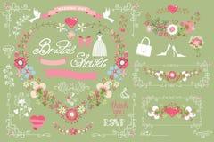 Bridal shower template set.Decor element,floral Royalty Free Stock Images