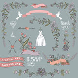 Bridal shower template set.Floral decor elements Royalty Free Stock Photo