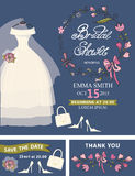 Bridal shower template set.Wedding dress,floral Royalty Free Stock Photography