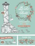Bridal shower template set .Wedding dress,floral Stock Photo