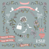 Bridal shower template setWedding.Floral decor elements Stock Photo