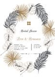 Bridal shower tropic leaves vector template design. Bridal shower vector template design. Gold and black tropic leaves decor, silver frames wedding invitation Royalty Free Stock Images