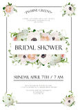 Bridal shower vector template Invitation card design with light Royalty Free Stock Image