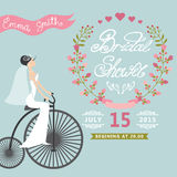 Bridal Shower.Vintage Wedding invitation with Royalty Free Stock Images