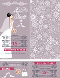 Bridal shower wedding  cards.Bride,Winter ornament. Wedding Bridal shower invitation set.Bride in wedding dress,snowflakes lace pattern,lettering title,frames Stock Photo
