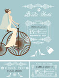 Bridal shower wedding cards.Bride,Winter pattern Royalty Free Stock Photos