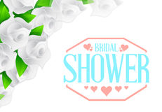 bridal shower white roses color sign Stock Image