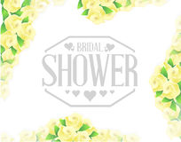 bridal shower yellow roses border sign Royalty Free Stock Photo
