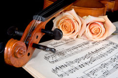 Bridal strings. Sheet music of the Wedding March; with roses and violin royalty free stock photography