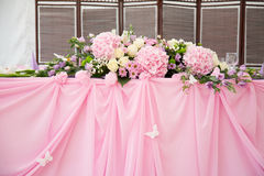Pink wedding bridal table decorations Stock Photography