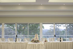 Bridal table and wedding cake reception set-up Royalty Free Stock Photo