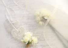 Bridal theme background of hearts and flowers Stock Images