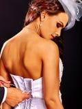 Bridal trying on wedding dress Royalty Free Stock Image