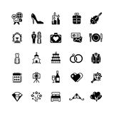 Bridal vector symbols. Wedding vector black silhouette icons isolated on white. Collection of wedding icons black silhouette illustration Royalty Free Stock Photos