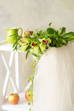 Bridal Veil And Beautiful Orchid Wreath Stock Photography