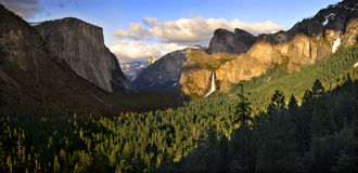 Bridal Veil Falls in Iconic Yosemite Valley Panorama at Sunset Royalty Free Stock Images