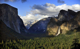 Bridal Veil Falls in Iconic Yosemite Valley at Sunset Royalty Free Stock Photography
