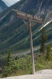 Bridal Veil Falls sign, Banff National Park, Canada Royalty Free Stock Photos