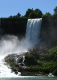 Bridal Veil Falls and Tourists on Cliff Walkways Stock Photos