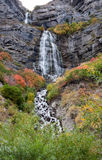 Bridal Veil Falls Utah in Autumn Colors. Beautiful Bridal Veil Falls in Provo Canyon, Utah, United States in the autumn with the leases on the trees changing Royalty Free Stock Images