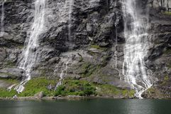 Bridal Veil waterfall on Geirangerfjord Royalty Free Stock Photography