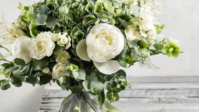 Bridal vintage bouquet. The bride`s . Vintage style. Bridal vintage bouquet. The bride`s . Beautiful of mixed flowers and greenery, decorated with silk ribbon stock video