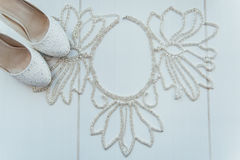Bridal wedding accessories on dressing table Royalty Free Stock Photo