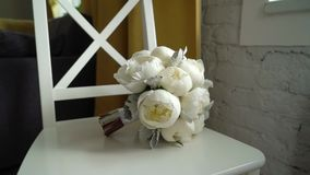 Bridal wedding bouquet. With white peonies stock footage