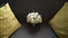 Bridal wedding bouquet. With white peonies stock video footage