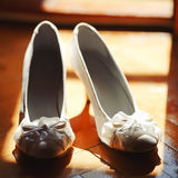 Bridal wedding day shoes Royalty Free Stock Photography
