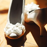 Bridal wedding day shoes Royalty Free Stock Images