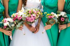 Bridal wedding flowers and brides bouquet. Bridal wedding flowers and brides closeup stock photo
