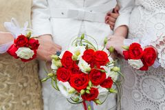 Bridal wedding flowers and brides bouquet Stock Image