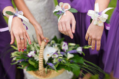 Bridal wedding flowers and brides bouquet Stock Photos
