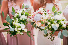 Bridal wedding flowers and brides bouquet Stock Images