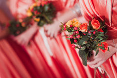 Bridal wedding flowers and brides bouquet Stock Photo