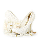 Bridal wedding shoe and beads Royalty Free Stock Image