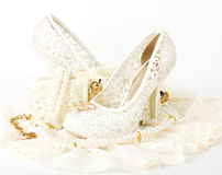 bridal wedding shoe and beads Royalty Free Stock Photography