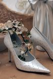 Bridal wedding shoes Royalty Free Stock Images