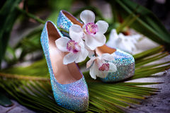 Bridal wedding shoes with diamante near the starfish, white flowers Stock Photography