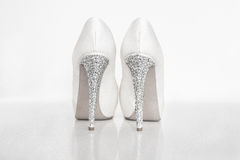 Bridal white shoes Royalty Free Stock Photo