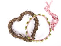 Bridal wreath and heart. On white background royalty free stock photo